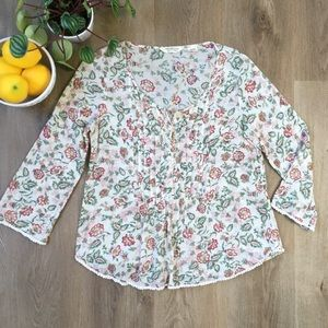 Denim & Supply Cream Floral Boho Blouse sz S